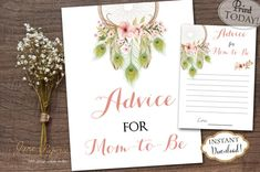 Every new mom needs an advice for family and friends, so add these Advice For Mom To Be printable and a sign to your baby shower. You can set them up by the gift table so every guest can see them and fill them out with a piece of advice.  INSTANT DOWNLOAD - Advice for Mom to Be Card and Sign - Bohemian Watercolor Peacock Feathers and Floral Dreamcatcher Boho Baby Shower. Find more coordinating printables at JanePaperie: https://www.etsy.com/shop/JanePaperie