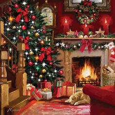 christmas scenes Christmas Room II Canvas Art by The Macneil Studio Christmas Room, Christmas Scenes, Noel Christmas, Vintage Christmas, Christmas Cards, Christmas Morning, Christmas Presents, Christmas Cookies, Victorian Christmas