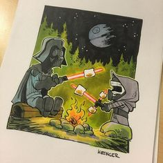 My latest commission: #lilkylo loves roasting marshmallows with grandpa. #starwars #darthvader #kyloren