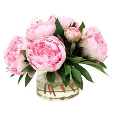 Craft a charming entryway vignette or dining table centerpiece with this lovely faux peony arrangement, showcasing pink blossoms nestled in a classic glass v...