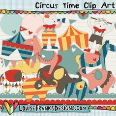 This is a set of 19 circus themed clip art which I created for blog designers to create premades and for other bloggers to make their own blog designs. All of the graphics are supplied at print resolution (300dpi) for other crafting uses, but they're easily resized to screen resolution. Check out the clown and the circus master, they're really cute!