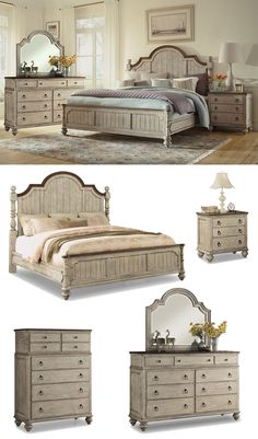 The Plymouth Bedroom Set boasts a shabby chic design with contrasting wood finishes and paneled construction. With an overall gray wash finish accented by dark trim, Plymouth is ideal for those who like a bit of vintage design in their modern lives. Wake up feeling like royalty with this charming poster bed. Browse our large selection of bedroom furniture online or in-store at Great American Home Store in Memphis, TN, and Southaven, MS. #bedroom #masterbedroom #bedroomfurniture #bed #dresser