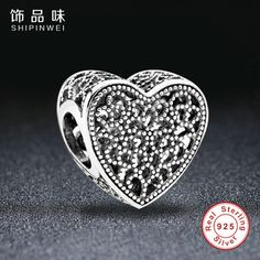 Shipinwei 100% 925 Sterling Silver Abstract Silver Weave Heart Charms Fit Pandora Bracelets Bangles Original Jewelry Making