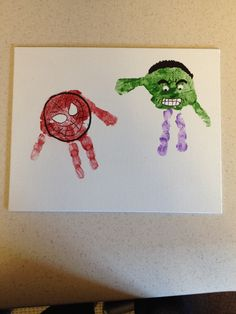 From our superhero obsessed house: handprint Spider-Man and The Hulk.