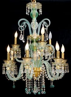 Murano glass chandelier aqua green color - All For Decoration Turquoise Chandelier, Murano Chandelier, Italian Chandelier, Chandelier Lighting, Chandeliers, Vintage Chandelier, Murano Glass, Venetian Glass, Beautiful Lights