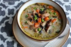 Creamy Chicken & Mushroom Soup (dairy free & Paleo) from Allergy Free Alaska. This soup will feed and nourish your soul!