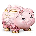My Precious Daughter Pig Lena Liu Musical Trinket Box / Money Bank Pig Bank, Mini Pigs, This Little Piggy, Flying Pig, Money Box, Pink Elephant, Everything Pink, Glass Paperweights, My Precious