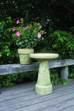 Hummingbird Birdbath and Planter handcrafted in Roseville, OH by Burley Clay Products