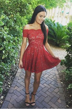 red off shoulder homecoming dresses, simple lace party dresses, cheap short prom party gowns.