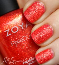 "Zoya ""Destiny"" is an intense coral with gold metallic glitter. It leans way more red than a traditional coral so I'd say it leans towards a burnt or sun-baked coral. Destiny is the first textured shade I've worn that has a dupe. OPI Jinx from the Bond Girls collection is a close, close match. Close enough that you don't need both.  ♥"