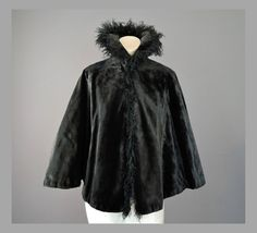 Victorian Black Faux Fur Cape with Curly Goat by dandelionvintage