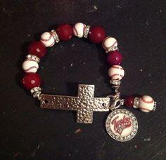 Louis Cardinals Baseball Cross Bracelet by Baseball Jewelry, Baseball Gifts, Baseball Mom, Football, Mom Jewelry, Beaded Jewelry, Jewelry Making, St Louis Cardinals Baseball, Stl Cardinals