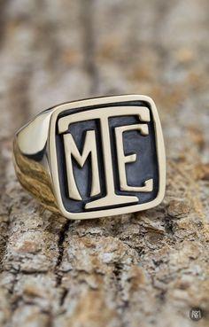 Stainless Steel Royal Initial Monogram Letter M Mens Hexagon Crest Signet Ring
