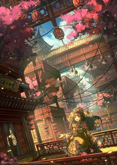 Chinese-style fantasy includes super-realistic fantasy scenes with Chinese-like elements. The contrast between the mysti. Fantasy Art Landscapes, Fantasy Landscape, Fantasy Artwork, Landscape Art, Fantasy City, Fantasy Places, Fantasy World, Anime Scenery Wallpaper, Anime Artwork