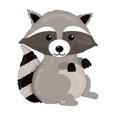 """Raccoon Balloons are perfect for a woodland birthday or baby shower. They float with helium! Qty: 1 Size: 36"""" inch Balloons are shipped un-inflated. You can blow them up by mouth or fill them with hel"""