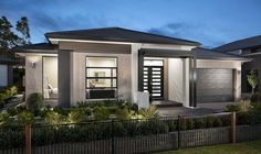 Allure 2 RHS Contemporary House Plans, Modern House Plans, Modern House Design, Front View Of House, Rendered Houses, House Architecture Styles, Modern House Facades, House Viewing, Sims House