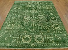 5' x 6.5' Hand Knotted Wool and Silk Light Green Tabriz Oriental Rug
