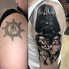 Been waiting a while to do one of these, started a star wars sleeve finally!! Covering jackos boyband style tattoo from his younger years, loves star wars so why not! More to come like darth's tie fighter, death star etc brilliant end to the year piece to do im a very happy chappy. Client arm pic is in a mirror  #starwars #starwarsfan #tattoos #starwarstattoo #darthvadertattoo #waverlyink #starrtattoosupplies #bellaemporiotattoostudio @bella_emporio