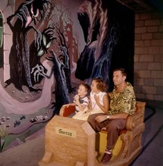 Kids enjoying (?) a terrifying ride through Snow White and her Adventures. | 18 Wonderful And Rare Color Photos Of Disneyland In 1955
