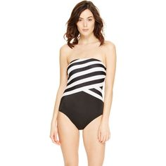 DKNY Striped Bandeau One-Piece featuring polyvore fashion clothing swimwear one-piece swimsuits black one piece swimwear bandeau one piece bathing suits bandeau swimsuit black bandeau bathing suit bandeau bathing suits