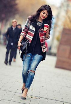 tartan, destroyed denim, heels, and statement necklace. streetstyle