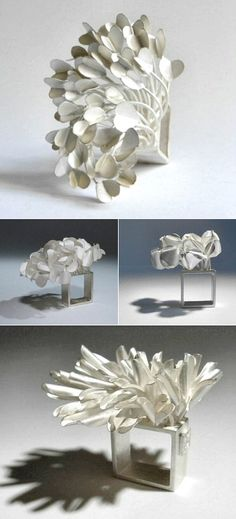 Blown in the wind... Sculptural folded petal rings - organic, nature-inspired jewellery designs // Ute Kolar