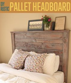 How to Make a Rustic DIY Pallet Headboard for the Bedroom | http://diyready.com/diy-rustic-pallet-headboard/