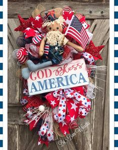 Patriotic Wreath by Ba Bam Wreaths Fourth Of July Decor, July 4th, 4th Of July Wreath, Patriotic Wreath, Patriotic Decorations, American Flag Wreath, Wreath Crafts, Wreath Ideas, Wreath Supplies