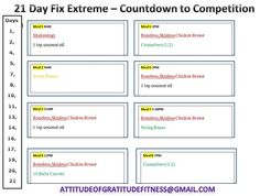 21 Day Fix Extreme Sample Eating Plan - Countdown to Competition #21DFE For more info email AttitudeOfGratitudeFitness@GMAIL.COM