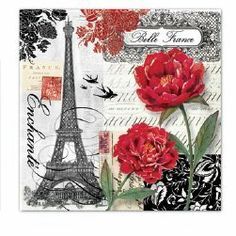 Luncheon Napkin - Belle France By Punch Studio - Collage & Eiffel Tower Design by Punch Studio. $6.00. 20 - 3-ply napkins per package. French themed paper napkins. Eiffel Tower design. This gorgeous napkin will add style and sophistication to your next party.  The French-themed, collage design highlights the Eiffel Tower.  The red flowers area a bold and dramatic contrast to the black & white background.  The design is on all panels.  There are 20, 3-ply, high...