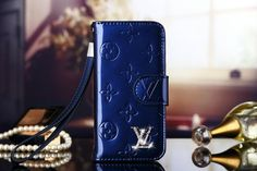 Striking Fashion Blue Leather Wallet Cases Louis Vuitton (LV) iPhone 6S Cases & iPhone 6S Plus Cases   | Apple iPhone6S Cases