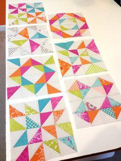 Confetti Blocks using half square triangles-Moda Bake Shop