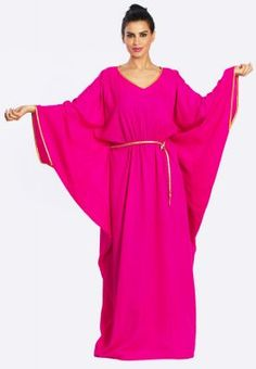 Bright pink abaya with winged sleeves