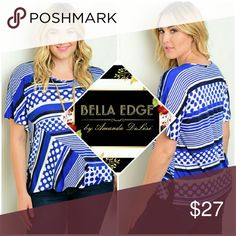 🆕 PLUS SZ ▫Royal blue white stripes and dots top 94% POLYESTER, 6% SPANDEX. Made in USA. This short sleeve relaxed fit top features classic stripes and dots. Size 1X to 3X. Bella Edge Boutique Tops Blouses