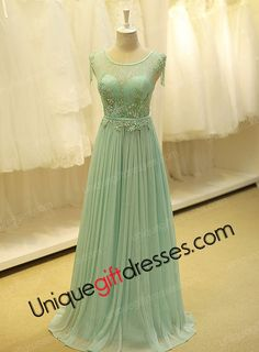 A-line Scoop Sweep Train Beads Lace Tulle Modern Holiday Dresses