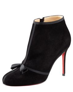 Christian Louboutin Arnoeud Grosgrain-Bow Suede Red Sole Ankle Boots $1195