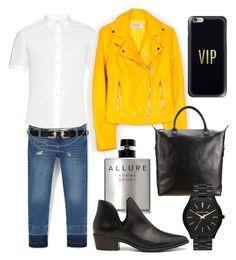 """Yellow biker look 4 work"" by mars1128 on Polyvore featuring MANGO, River Island, Chanel, Alexander McQueen, Steve Madden, Want Les Essentiels de la Vie, MICHAEL Michael Kors, Casetify, men's fashion and menswear"