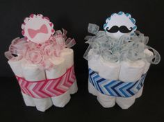 Set of 2 Gender Reveal Diaper Cakes- Mustache or Bows, Beau or Bow, Gender Reveal Cakes, Baby Shower Centerpieces on Etsy, $18.50
