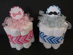 Set of 2 Gender Reveal Diaper Cakes- Mustache or Bows, Beau or Bow, Gender Reveal Cakes, Baby Shower Centerpieces on Etsy, $18.50