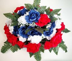 Premium Rose Headstone Spray with Patriotic Flowers Artificial Flower Arrangements, Artificial Silk Flowers, Floral Arrangements, Grave Flowers, Cemetery Flowers, Wedding Supplies, Wedding Favors, Memorial Flowers, Visual Display