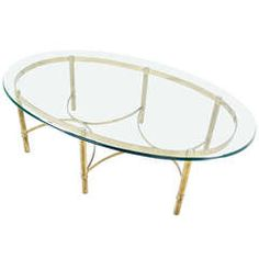 Brass and Glass Oval Mid-Century Modern Coffee Table