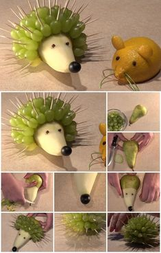 Here's the link to the tutorial >> How to Make Hedgehog of Pear and Grapes << by DM Creative School Minnie Mouse Cake Design, Deco Fruit, Healthy Birthday, Hedgehog Birthday, Fruit Creations, Food Art For Kids, Food Carving, Fruit Decorations, Food Garnishes
