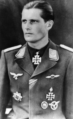 ✠ Egon Albrecht (19 May 1918 – 25 August 1944) was a Luftwaffe ace and recipient of the Knight's Cross of the Iron Cross during World War II. Albrecht claimed 25 aerial victories, 10 over the Western Front and 15 over the Eastern Front. On 25 August 1944 Albrecht was intercepted by USAAF P-51 Mustang fighters and shot down in his Bf 109G-14 near Creil. Albrecht managed to bale out of his stricken aircraft but was dead when found on the ground. ✠