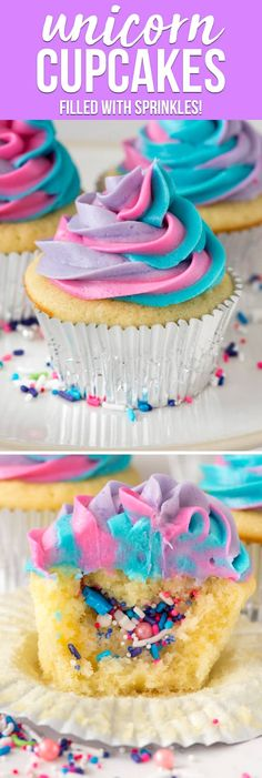 Cupcake recipes 224476362661786706 - Unicorn Cupcakes are such a fun way to celebrate a birthday! Fill vanilla cupcakes with sprinkles and top with a swirled colorful frosting. Kids and adults will love this easy cupcake recipe! via Crazy for Crust Cupcakes Cool, Frost Cupcakes, Swirl Cupcakes, Filled Cupcakes, Decoration Cupcakes, Bling Cupcakes, Sprinkle Cupcakes, Easy Cupcake Recipes, Frosting Recipes