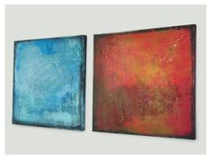 Serie of two abstract paintings Ones in red and by RonaldHunter, $419.00