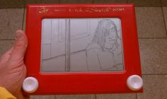 "John Raux, an artist from Kansas City, traveled New York's subway and created on-the-spot, Etch-A-Sketch portraits in transit. Find more portraits from ""Riding The Lines"" at https://plus.google.com/photos/114936158285932101800/albums/5680084752616589633?banner=pwa"