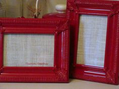 2 Ornate Red Decorative Picture Frames, Picture Frames, Red Decor, Red Frames, Red Decoration