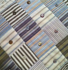 Shirts and buttons. I like the concept. I'd do a quilt like this in pretty fabric and instead of quilting it just sew buttons in the middle of each square (do smallish squares).