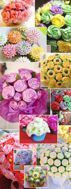 Cupcake bouquets, what a lovely idea for gifts. I could start a business out of this cupcakes or flowers. Cupcake Flower Bouquets, Edible Bouquets, Flower Cupcakes, Yummy Cupcakes, Diy Flower, Cupcakes Design, Cake Decorating Tips, Cookie Decorating, Cakepops