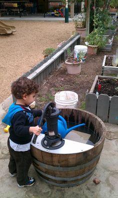 Exploring the Outdoor Classroom: Barrel Pumps in the Outdoor Classroom Outdoor Learning Spaces, Kids Outdoor Play, Outdoor Play Areas, Outdoor Education, Outdoor Fun, Indoor Play, Outdoor School, Outdoor Classroom, Montessori